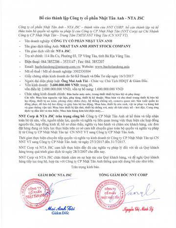 BỐ CÁO THÀNH LẬP CTY CP NHẬT TÂN ANH - ngày 25/4/2017
